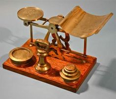 Rare Antique Brass Mail Letter Mechanical Balance Weight Scale