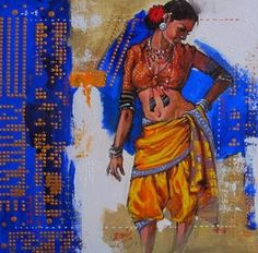 """Fine Art and You: Mind-Blowing Indian Woman Paintings by Indian Artist """"Ramchandra Kharatmal"""" Indian Art Paintings, Colorful Paintings, Portrait Paintings, Figure Sketching, Figure Drawing, Woman Painting, Painting & Drawing, Indian Illustration, Indian Artist"""