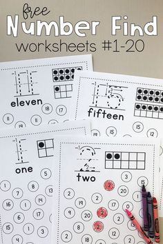 Number Find Worksheets Print this free preschool and kindergarten math activity to promote number recognition! Kids find the featured number and color or dab it. Get free printable number worksheets in the bundle! Numbers Kindergarten, Kindergarten Math Activities, Free Preschool, Teaching Math, Free Printable Kindergarten Worksheets, Learning Numbers Preschool, Preschool Education, Teaching Numbers, Kids Printable Activities