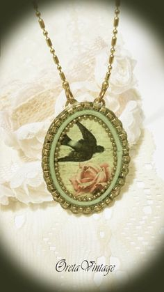 Bird necklacevintage style necklace with by OretaVintage on Etsy