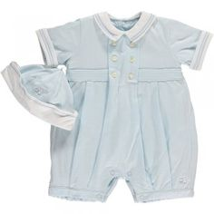 """Always a favourite - """"Elvin"""" from Emile et Rose is a soft jersey, traditional romper and hat set"""