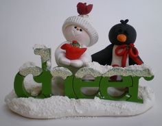 Polymer Clay Snowman Christmas Decoration Snow Scene by Helen's Clay Art - Village decoration - pinned by pin4etsy.com