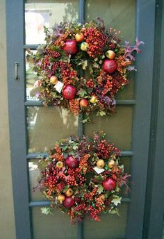 15 Colorful Fall Outdoor Decorating Ideas fall decorating ideas, two fall wreaths roger's gardens – Photo © Lisa Hallett Taylor Wreath Crafts, Diy Wreath, Door Wreaths, Wreath Ideas, Autumn Wreaths For Front Door, Fall Door, Holiday Wreaths, Christmas Decorations, Holiday Decor
