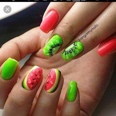 Beautiful nails to the sea Berry nails Bright summer nails ideas Cheerful nails Fashion nails 2017 Kiwi nails Nails with berries Pink and lime green nails Nail Art Design Gallery, Best Nail Art Designs, Nail Designs Spring, Fruit Nail Designs, Design Art, Nail Manicure, Gel Nails, Manicure Ideas, Toenails