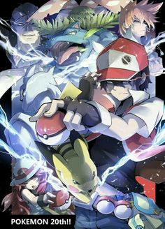 Pokémon 20th Anniversary, Red, Pokémon, Trainers, text, cool; Pokémon