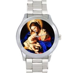 Personalized Watch Virgin Mary and Baby Jesus, Catholic Religious Metal Watch *** Review more details here : Travel Gadgets