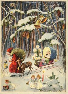 Hannes Petersen ,c 1930 ...Advent calendar with Santa.