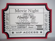Movie Ticket Invitation, Movie Theme Party | Timberlysdesigns - Seasonal on ArtFire