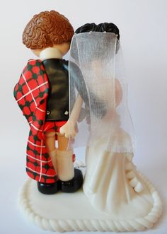 Scottish Bride & Groom wedding cake topper, kilt lifted! I can make anything you want, personalised to you.