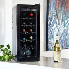 This compact Koolatron Slim 12 Bottle Wine Cooler fits in many places that most other wine coolers won't. It measures just over 11 inches wide, but. Thermoelectric Wine Cooler, Thermoelectric Cooling, Wine Descriptions, Champagne, Cooling Unit, Tempered Glass Door, Types Of Wine, Wine Reviews, Bottle Sizes