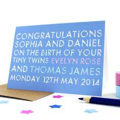 personalised 'tiny twins' greetings card by studio 9 ltd | notonthehighstreet.com