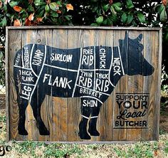 Butcher Shop Cuts Diagram Rustic Wood Sign - Cow - Beef - Large Version - Hand Painted    Size is approximately 24 x 36 with a raw rustic