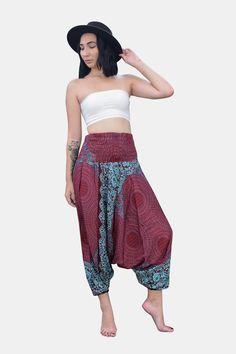 Thai Harem Pants Women Jumpsuit Yoga Mandala Plum