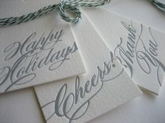letterpress holiday gift tags,  The simplicity, combined with elegant script, silver ink, thick paper, and a deep impression make these lovely!