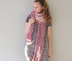 Extra Long Crocheted Scarf / Fashion Wool Scarf In by Accessodium, $130.00