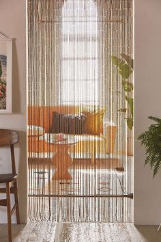 Shop Bamboo Beaded Curtain at Urban Outfitters today. We carry all the latest styles, colors and brands for you to choose from right here. - Would be nice in our bathroom in front of the shelves Beaded Curtains Doorway, Bamboo Beaded Curtains, Doorway Curtain, String Curtains, Diy Curtains, Bead Curtains For Doors, Closet Door Curtains, Black Curtains Bedroom, Patterned Curtains