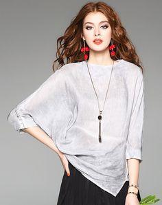 #AdoreWe #VIPme Designer Blouses & Shirts - Designer D.Fanni Gray Batwing Sleeve Asymmetric Casual Linen & Silk Blouse Top - AdoreWe.com