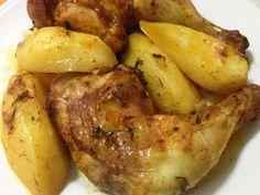 כרעי עוף ותפוחי אדמה ברוטב סויה וסילאן