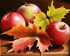 """""""Three Apples"""" Oil painting by Varvara Harmon Apple Painting, Fruit Painting, Autumn Painting, Autumn Art, Apple Art, Still Life Art, Fruit Art, Seascape Paintings, Art Pages"""