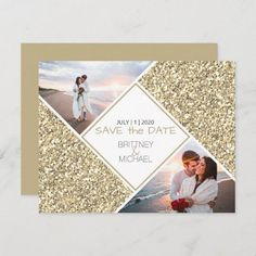Gold Glitter Photo Collage Announcement New Address Announcement, Elopement Announcement, Announcement Cards, Glitter Photo, Gold Glitter, Save The Date Postcards, Save The Date Cards, Wedding Stationary, Card Stock