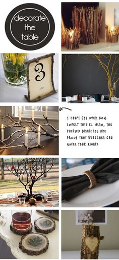 I adore the manzanita branch center piece with crystals and leaves! Painted Branches, Tree Branches, Framed Table Numbers, Branch Centerpieces, Woodland Decor, Diy Home Crafts, Party Planning, Wood Projects, Diy Wedding