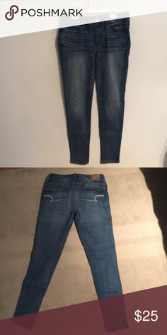 6c7db0eba1b91 American Eagle Super Stretch Jeggings American Eagle Super stretch blue  jeggings American Eagle Outfitters Jeans Skinny