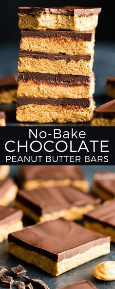 No-Bake Chocolate Peanut Butter Bars are SO easy to make! This recipe is made wi., Desserts, No-Bake Chocolate Peanut Butter Bars are SO easy to make! This recipe is made with 7 ingredients and is ready in 15 minutes! Peanut Butter Cup Cookies, Peanut Butter Chocolate Bars, Peanut Butter Recipes, Chocolate Desserts, Chocolate Cookies, Melt Chocolate, Vegan Peanut Butter, Chocolate Caramels, Chocolate Cheesecake