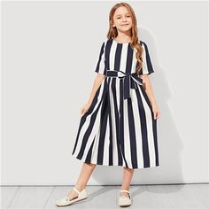 SHEIN Girls Tie Waist Button Striped Casual Dress Kids Clothing 2019 Spring Korean Short Sleeve Elegant A Line Girls Dresses Box Pleated Dress, Belted Dress, The Dress, Striped Dress, Baby Dress, Dress Girl, Girl Outfits, Spring Outfits, Fashion Outfits