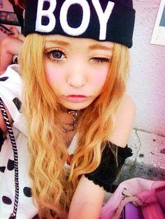 HARAJUKU STREET☮JAPANESE FASHiON••• gyaru ~ makeup ~ hair ~ false eyelashes ~ circle lenses ~ BOY London hat ~ cute ~ kawaii