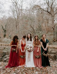 You've Got to See the Bridesmaids in Jewel Tones + Floral Hoops in this Luxe Autumn Wedding Inspiration - Hochzeit Bilder Trauzeugen - Hochzeitskleid Velvet Bridesmaid Dresses, Mismatched Bridesmaid Dresses, Alternative Bridesmaid Dresses, Bohemian Bridesmaid, Bridesmaid Bouquets, Velvet Dresses, Autumn Bridesmaid Dresses, Jewel Tone Bridesmaid, Wedding Bouquets