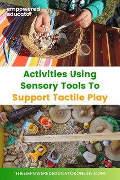 Sensory Activity Ideas And Tools To Support Sensory Play - Regularly exposing children to sensory play activities is one of the best ways that educators and parents can support children to challenge themselves with new textures and experiences. If you're not sure how to introduce play activities using sensory tools to support tactile play and children who don't like messy hands, this post will give you lots of ideas to get started. | The Empowered Educator Toddler Sensory Bins, Baby Sensory, Sensory Play, Toddler Preschool, Gross Motor Activities, Sensory Activities, Infant Activities, Activities For Kids, Play Based Learning