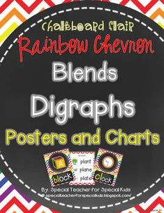Chalkboard and rainbow chevron style blends and digraphs Fun visuals for all the difficult sounds. $