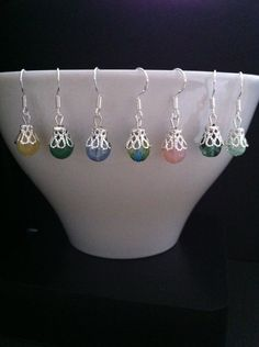 Czech Glass Beads with Silver Plated Filigree Bead by RainbowKnit, $8.00