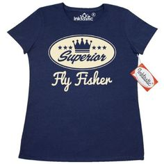 Inktastic Fly Fisher Vintage Superior Women's T-Shirt Fishing Gift Fisherman Funny Retro Crown Hobby Fish Sports Hobbies Clothing Apparel Tees Adult Hws, Size: XXL, Blue