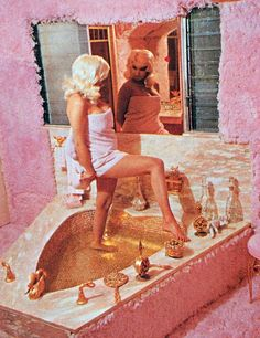 Purchased by the screen siren in 1957, Jayne Mansfield's Pink Palace earned its name for obvious reasons: Inside and out, the Mediterranean Revival mansion in Los Angeles where she lived with her second husband, Mr. Universe 1955 Mickey Hargitay, was a paradise of rose-color excess, thanks to set designer Glenn Holse. The house was demolished in 2002