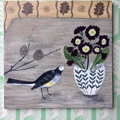 496 vind-ik-leuks, 24 reacties - Debbie George (@debbiegeorgepainter) op Instagram: ''Wagtail and Auricula' one of the new pieces that I am currently working on for my  solo show with…' Rachel Grant, Kurt Jackson, Vanessa Cooper, Frozen In Time, Currently Working, Still Life Art, Bird Art, 21st Century, Flower Art