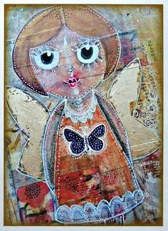 Butterfly Girl Mixed Media A4 Art Print by JulieGibbonsCreates, £10.00