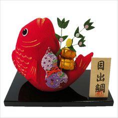正月飾り 「縁起 はね鯛」 龍虎堂 リュウコドウ ちりめん細工 正月飾り 日本.