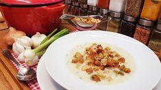 Hagymakrémleves Fokhagymakrémleves / Szoky konyhája  / Potato Salad, Potatoes, Favorite Recipes, Meals, Chicken, Ethnic Recipes, Youtube, Food, Meal