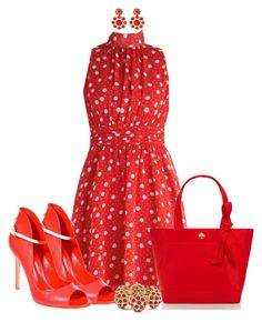 """""""I Am All REDdy!"""" by shakerhaallen ❤ liked on Polyvore featuring Gianvito Rossi, Kate Spade and Amrita Singh"""