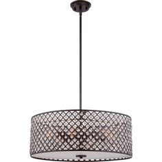 Six Light Pendant in Dark Bronze w/Antique Gold Highlights by Quoizel from the Catherine collection. Kitchen Pendant Lighting, Drum Pendant, Bronze Pendant, Crystal Pendant, Light Pendant, Chandeliers, Quoizel Lighting, Black Chandelier, Gold Highlights