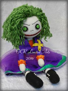 Lady Joker  Button Eye inspired Doll Creepy cute OOAK Handmade Art doll cloth doll collectible Gothic doll gift rag doll  villain comics by…