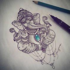 """190 mentions J'aime, 9 commentaires - Taizane ☆Tai☆ (@taiamorearte) sur Instagram: """"Terminando mais uma encomenda!  Amado Ganesha!  #ganeshatattoo #tattoo #ganeshtattoo #taizane"""""""