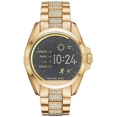 Michael Kors AccessBradshaw Goldtone Stainless Steel & Crystal Pave... ($395) ❤ liked on Polyvore featuring jewelry, watches, apparel & accessories, gold, stainless steel watches, pave jewelry, gold tone jewelry, bezel watches and stainless steel digital watch