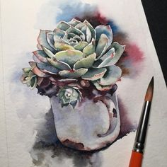 Succulents Drawing, Planting Succulents, Botanical Illustration, Greenery, Watercolor Paintings, Miniatures, Leaves, Craft, Drawings