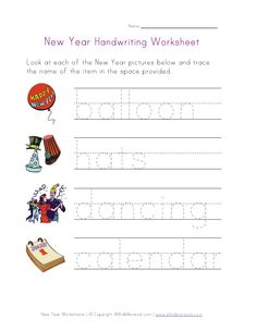 New Year Handwriting Worksheet - Pinned by @PediaStaff – Please visit http://ht.ly/63sNt for all (hundreds of) our pediatric therapy pins