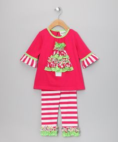 Take a look at this Red Tunic & Candy Cane Leggings - Toddler & Girls by Rare Editions on #zulily today!