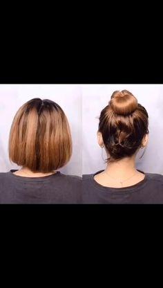 Short Hair Updo Easy, Short Hair Updo Tutorial, Short Hair Dos, Short Hair Hacks, Super Short Hair, Short Hair Styles Easy, Cute Hairstyles For Short Hair, Medium Hair Styles, Short Bob Updo