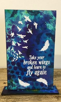 Visible Image stamps - Learn To Fly Again - Kim Bacon 2 Create And Craft Tv, Infant Loss Awareness, Image Stamp, Broken Wings, Learn To Fly, Scrapbook Journal, Paint Party, Art Journal Inspiration, Crafty Projects
