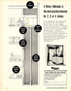 #TBT to this Rotary ad in our February 1953 issue! #oildraulic #elevator #Rotary